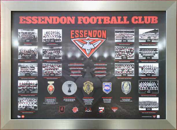 A Beautiful Framed Limited Edition of AFL's Essendon Football Club's Achievements