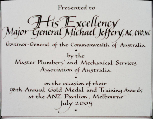 Inscription to the Governor-General from the Master Plumbers Association