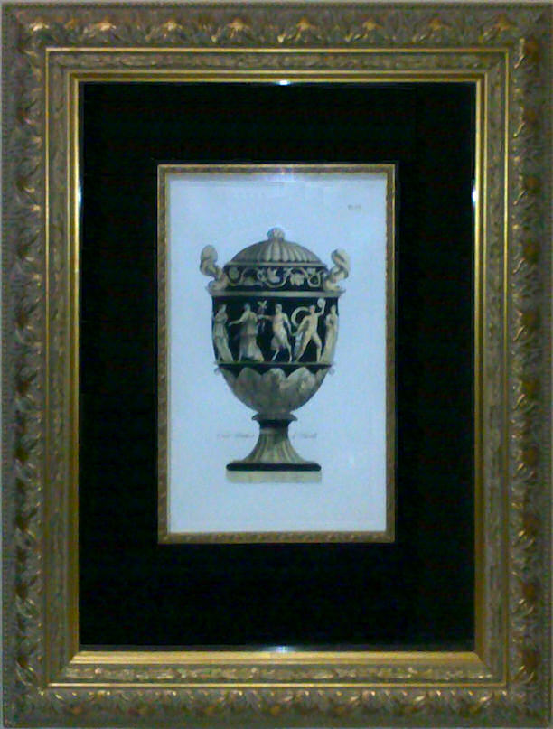 Custom-framed etching of Black Vase - Plate 7