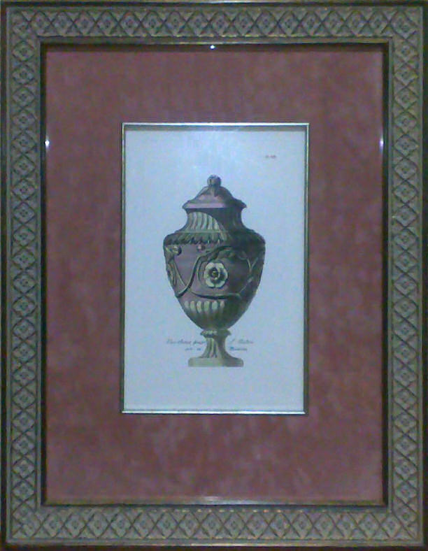 Custom-framed etching of Pale Pink Vase - Plate 14