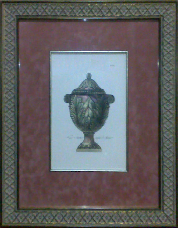 Custom-framed etching of Pale Pink Vase - Plate 15