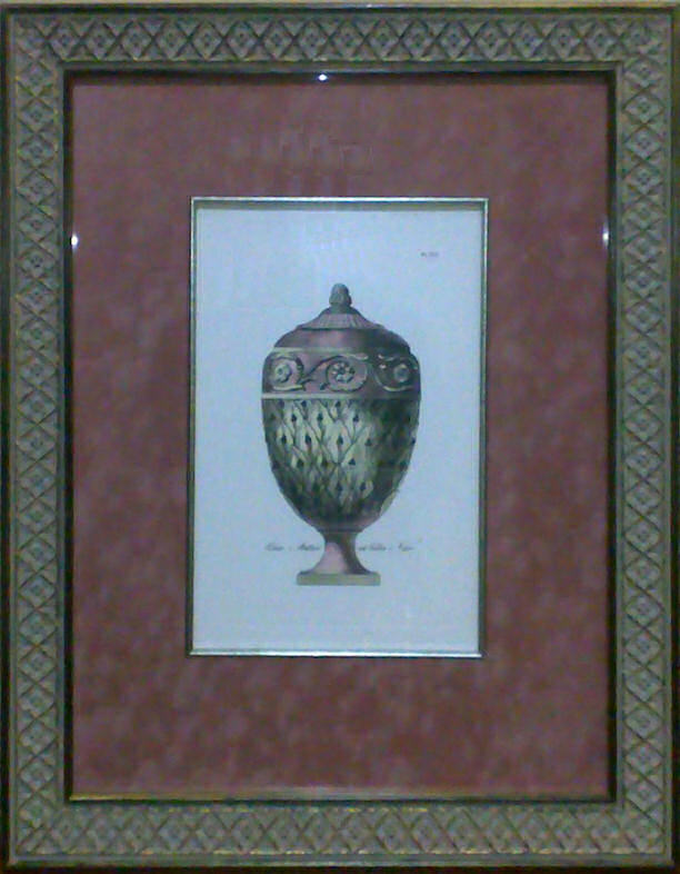 Custom-framed etching of Pale Pink Vase - Plate 16