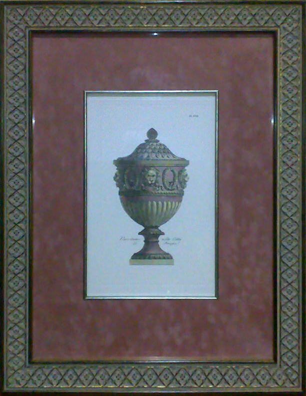 Custom-framed etching of Pale Pink Vase - Plate 17