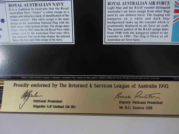 Detail showing the official Endorsment Plaque