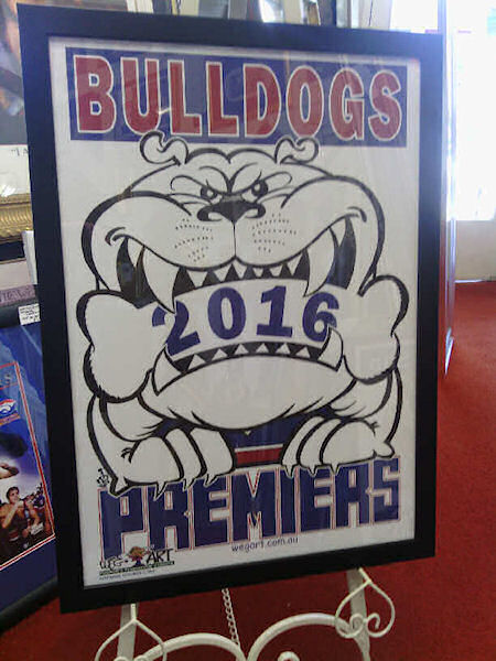 "Custom Framed Bulldogs 2016 Premiership ""WEG-ART"" Poster"