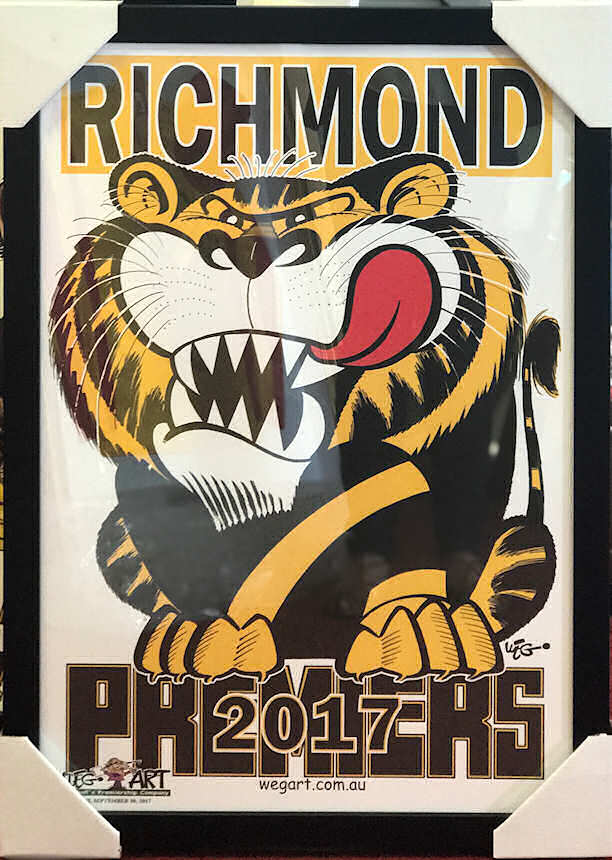 "Custom Framed Tigers 2017 Premiership ""WEG-ART"" Poster"