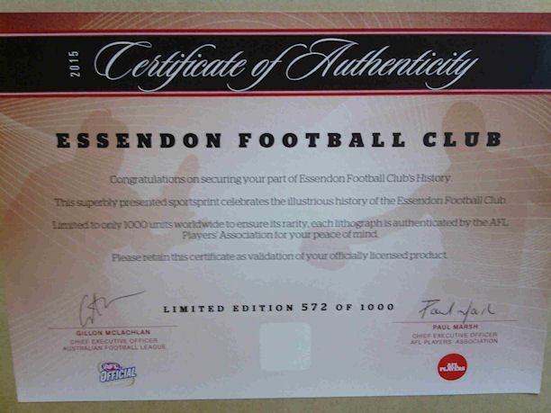 Essendon F C Limited Edition COA