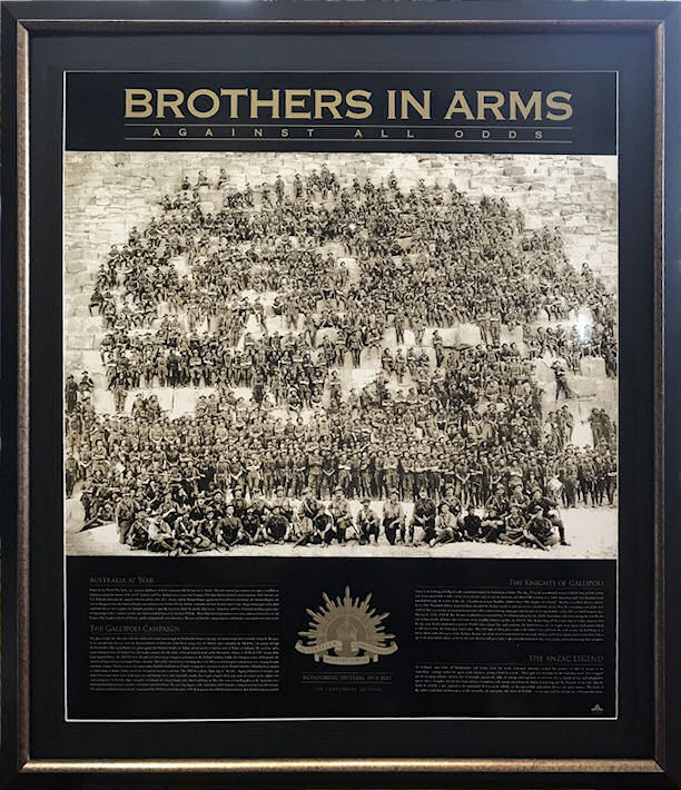 A Beautiful Framed Centenial Limited Edition of ANZACs Brothers In Arms Centenial Edition